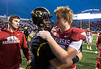 Hawgs Illustrated/BEN GOFF <br /> Jack Lindsey (right), Arkansas quarterback, greets Taylor Powell, Missouri quarterback, Saturday, Nov. 29, 2019, after the game at War Memorial Stadium in Little Rock. The two played together at Fayetteville High.