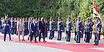 Egyptian President Abdel Fattah al-Sisi and President of Burkina Faso, Roch Marc Christian Kabore review the honor guards in Cairo, Egypt, on June 07, 2017. Photo by Egyptian President Office