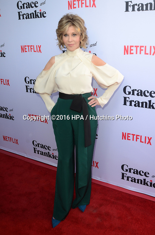 LOS ANGELES - MAY 1:  Jane Fonda at the Grace & Frankie Season 2 Premiere Screening at the Harmony Gold on May 1, 2016 in Los Angeles, CA