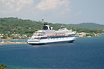 The Celebrity Cruise ship Zenith at dock in Roatan Honduras