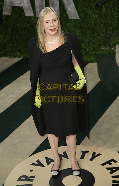 Faye Dunaway.2013 Vanity Fair Oscar Party following the 85th Academy Awards held at the Sunset Tower Hotel, West Hollywood, California, USA..February 24th, 2013.oscars full length black dress fashion disaster yellow green marigold rubber gloves cape clutch bag.CAP/ADM/SLP/DOW.©Dowling/StarlitePics/AdMedia/Capital Pictures