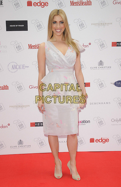 Kate Walsh.The FiFi UK Fragrance Awards 2012 at The Brewery, Chiswell Street, London, England..May 17th 2012.full length white grey gray dress clutch bag peplum.CAP/CAN.©Can Nguyen/Capital Pictures.
