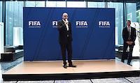 Fussball International 29.02.2016 Fussball International FIFA Praesident Gianni Infantino (Schweiz) erster Tag im Home of Fifa FIFA Praesident Gianni Infantino (li, Schweiz) und FIFA Interims-Generalsekretaer Markus Kattner (Deutschland) beim FIFA Staff Meeting