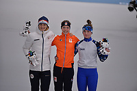 OLYMPIC GAMES: PYEONGCHANG: 16-02-2018, Gangneung Oval, Long Track, 5.000m Ladies, Final results, Martina Sabliková (CZE), Esmee Visser (NED), Natalya Voronina (OAR), ©photo Martin de Jong