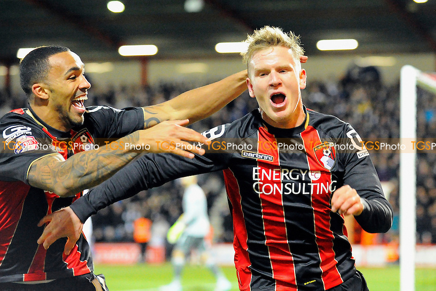 Callum Wilson of AFC Bournemouth left  celebrates with goalscorer Matt Ritchie of AFC Bournemouth - AFC Bournemouth vs Derby County - Sky Bet Championship Football at the Goldsands Stadium, Bournemouth, Dorset - 10/02/15 - MANDATORY CREDIT: Denis Murphy/TGSPHOTO - Self billing applies where appropriate - contact@tgsphoto.co.uk - NO UNPAID USE