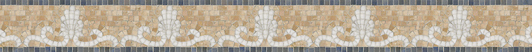 "4"" Goddess border, a hand-cut mosaic shown in polished Breccia Oniciata, Blue Macauba, and Thassos by New Ravenna."