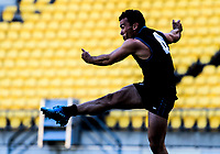 Action from the international AFL match between NZ Hawks and Australian NAB AFL Academy at Westpac Stadium in Wellington, New Zealand on Tuesday, 24 April 2018. Photo: Dave Lintott / lintottphoto.co.nz