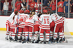 MADISON, WI - SEPTEMBER 29: The Wisconsin Badgers women's hockey huddles prior to the game against the Quinnipiac Bobcats at the Kohl Center on September 29, 2006 in Madison, Wisconsin. The Badgers beat the Bobcats 3-0. (Photo by David Stluka)