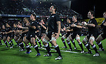 The All Blacks perform the haka (Troy Flavell front centre) before the Iveco rugby union international test match between the All Blacks and Canada at Waikato Stadium, Hamilton, New Zealand on Saturday 16 June 2007. The All Blacks won the match 64 - 13.