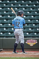 Cody Jones (12) of the Wilmington Blue Rocks at bat against the Winston-Salem Dash at BB&T Ballpark on June 5, 2016 in Winston-Salem, North Carolina.  The Dash defeated the Blue Rocks 4-0.  (Brian Westerholt/Four Seam Images)