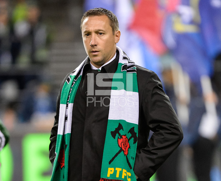 November, 2013: CenturyLink Field, Seattle, Washington:  Portland Timbers head coach Caleb Porter as the Portland Timbers defeat  the Seattle Sounders FC 2-1 in the Major League Soccer Playoffs semifinals Round.