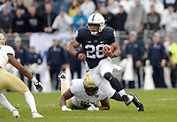 STATE COLLEGE, PA - SEPTEMBER 02:  Penn State RB Saquon Barkley (26) cuts in open field during a long run. The Penn State Nittany Lions defeated the Akron Zips 52-0 on September 2, 2017 at Beaver Stadium in State College, PA. (Photo by Randy Litzinger/Icon Sportswire)