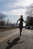 Blonde woman running