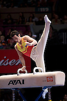3/1/08 - Photo by John Cheng -  Bo Lu of China performs on the pommel horse at the Tyson American Cup in Madison Square GardenPhoto by John Cheng - Tyson American Cup 2008 in Madison Square Garden, New York.Bo Lu
