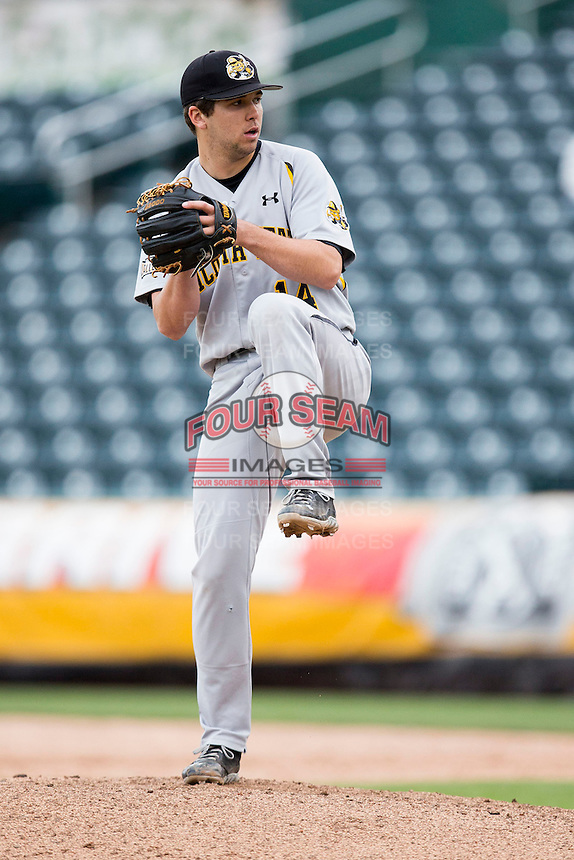 Foster Vielock #14 of the Wichita State Shockers winds up during a game against the Missouri State Bears at Hammons Field on May 5, 2013 in Springfield, Missouri. (David Welker/Four Seam Images)