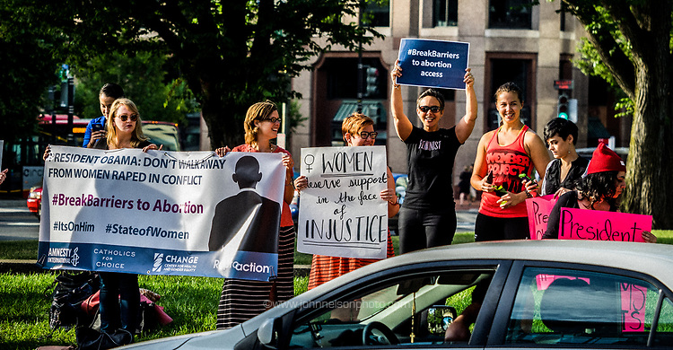 Center for Gender Health and Equity, Amnesty International, Catholics for Choice, ReproAction and others send a message to attendees of The State of Women in Washington DC that women and girls raped in conflict need access to safe abortion.