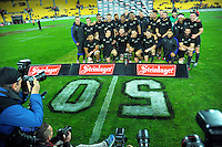 The All Blacks celebrate series vicotry after winning the Steinlager Series rugby union match between the New Zealand All Blacks and Wales at Westpac Stadium, Wellington, New Zealand on Saturday, 18 June 2016. Photo: Dave Lintott / lintottphoto.co.nz