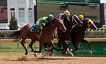 September 06, 2014:   Keen Ice (#9, outside) ridden by Miguel Mena, wins a photo finish in the 2nd race over Starbound (#4, rail, Joel Rosario) and Tiznow R J (#8 middle, Ricardo Santana Jr.)  He is a 2 year old son of Curlin owned by Donegal Racing (Jerry Crawford) and trained by Dale Romans. ©Mary M. Meek/ESW/CSM