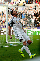 Saturday 19 October 2013 Pictured: Angel Rangel celebrates <br /> Re: Barclays Premier League Swansea City vSunderland at the Liberty Stadium, Swansea, Wales