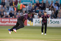 Jerome Taylor of Somerset CCC in action during Essex Eagles vs Somerset, Vitality Blast T20 Cricket at The Cloudfm County Ground on 7th August 2019