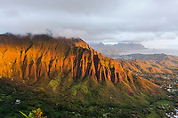 "An aerial view at dawn of the Ko'olau mountain range and Haiku valley from the Haiku Stairs (""Stairway to Heaven"") hiking trail in Kaneohe, O'ahu"