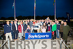 Kerry Star Brian Sheehan presented winning owners Christine and Pat McElligott of Paradise Maverik in the Boylesports Race of Champions Final at the Kerry GAA Race of Champions Night at the Kingdom Greyhound Stadium on Friday