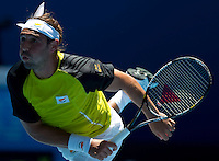 Marcus Baghdatis (CYP) against David Ferrer (ESP) (17) in the Second Round of the Mens Singles. Baghdatis beat Ferrer 4-6 3-6 7-6 6-3 6-1..International Tennis - Australian Open Tennis - Thur 21 Jan 2010 - Melbourne Park - Melbourne - Australia ..© Frey - AMN Images, 1st Floor, Barry House, 20-22 Worple Road, London, SW19 4DH.Tel - +44 20 8947 0100.mfrey@advantagemedianet.com