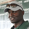 Todd Bowles, head coach, speaks with the media after a day of New York Jets Training Camp at the Atlantic Health Jets Training Center in Florham Park, NJ on Thursday, Aug. 3, 2017.