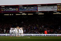 The Swansea team huddle up before the Barclays Premier League match between AFC Bournemouth and Swansea City played at The Vitality Stadium, Bournemouth on March 12th 2016