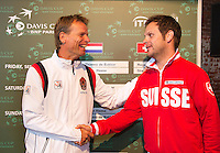 13-09-12, Netherlands, Amsterdam, Tennis, Daviscup Netherlands-Swiss, Draw , captains Jan Siemerink(L) and Severin Luthi.