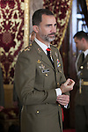 King Felipe VI of Spain receives Artillery Academy committee during a royal audience at Royal Palace in Madrid, Spain. November 21, 2014. (ALTERPHOTOS/Victor Blanco)