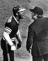 Oakland Athletics Bert&quot;Campy Campaneris words with umpire John Rice over pick off call. <br />