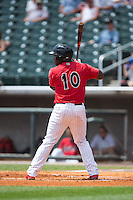 Courtney Hawkins (10) of the Birmingham Barons at bat against the Tennessee Smokies at Regions Field on May 4, 2015 in Birmingham, Alabama.  The Barons defeated the Smokies 4-3 in 13 innings. (Brian Westerholt/Four Seam Images)