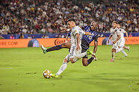 CARSON, CA - SEPTEMBER 21: Cristian Pavon #10 of the Los Angeles Galaxy moves with the ball during a game between Montreal Impact and Los Angeles Galaxy at Dignity Health Sports Park on September 21, 2019 in Carson, California.