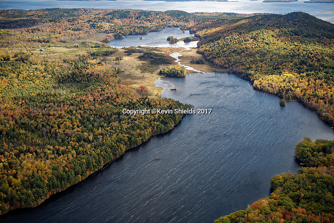 View of Pitcher Pond and Knights Pond, Waldo County, Maine, USA