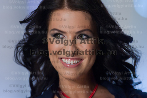 Contestant Laura Potari participates the Beauty Queen live TV show hosting the joint beauty contests Miss World Hungary, Miss Universe Hungary and Miss Earth Hungary, held in Hungary's tv2 television headquarter in Budapest, Hungary on July 14, 2011. ATTILA VOLGYI