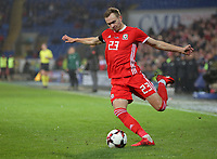 Ryan Hedges of Wales during the international friendly soccer match between Wales and Panama at Cardiff City Stadium, Cardiff, Wales, UK. Tuesday 14 November 2017.
