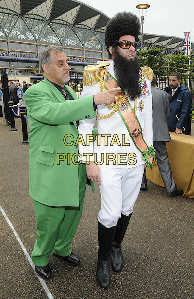 racegoers.The Royal Ascot Ladies Day racing event, Day 3, Ascot Racecourse, Ascot, Berkshire, England..June 21st, 2012.full length green suit white beard facial hair costume dictator hand arm pointing .CAP/CAN.©Can Nguyen/Capital Pictures.