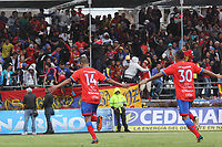 PASTO - COLOMBIA, 05-05-2019: Ederson Moreno (#14) del Pasto celebra después de anotar el primer gol de su equipo durante partido entre Deportivo Pasto y América de Cali por la fecha 20 de la Liga Águila I 2019 jugado en el estadio Municipal de Ipiales. / Ederson Moreno (#14) of Pasto celebrates after scoring the first goal of his team during between Deportivo Pasto and America de Cali match for the date 20 of the Liga Aguila I 2019 played at the Municipal de Ipiales stadium. Photo: VizzorImage / Leonardo Castro / Cont