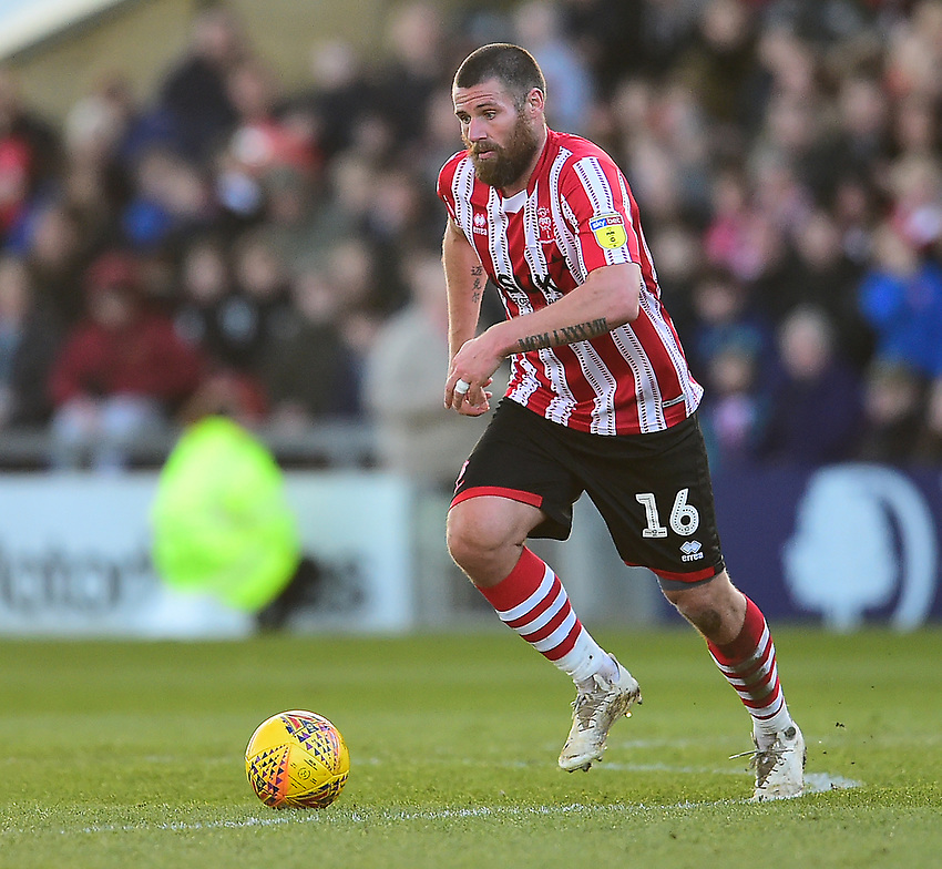 Lincoln City's Michael Bostwick<br /> <br /> Photographer Andrew Vaughan/CameraSport<br /> <br /> The EFL Sky Bet League Two - Lincoln City v Stevenage - Saturday 16th February 2019 - Sincil Bank - Lincoln<br /> <br /> World Copyright © 2019 CameraSport. All rights reserved. 43 Linden Ave. Countesthorpe. Leicester. England. LE8 5PG - Tel: +44 (0) 116 277 4147 - admin@camerasport.com - www.camerasport.com