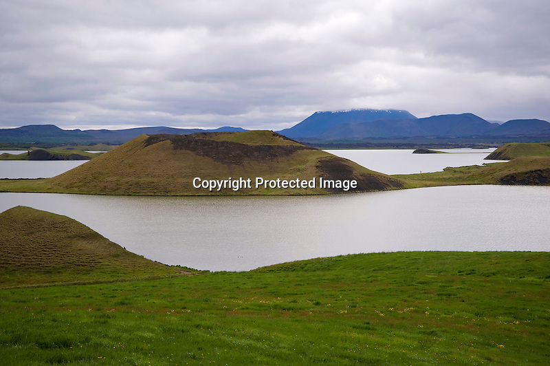 View of Volcanic Pseudo Craters and Lake Myvatn at Skutusstadir in North-East Iceland