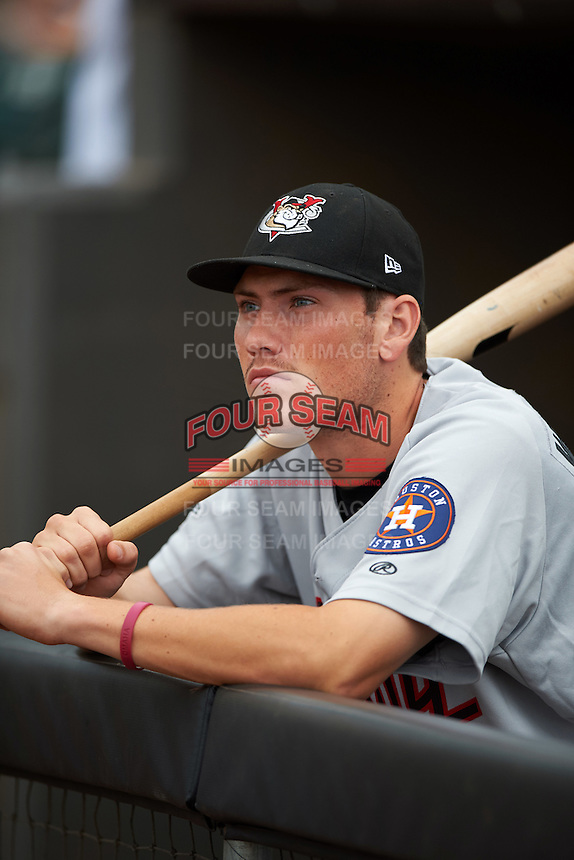 Tri-City ValleyCats Bobby Wernes (14) in the dugout before a game against the Aberdeen Ironbirds on August 6, 2015 at Ripken Stadium in Aberdeen, Maryland.  Tri-City defeated Aberdeen 5-0 in a combined no-hitter.  (Mike Janes/Four Seam Images)