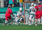 18 April 2015:  University of Vermont Catamount Goaltender Justin Rosenberg, a Junior from Boyds, MD, makes a save against the University of Hartford Hawks at Virtue Field in Burlington, Vermont. The Cats defeated the Hawks 14-11 in the final home game of the 2015 season. Mandatory Credit: Ed Wolfstein Photo *** RAW (NEF) Image File Available ***