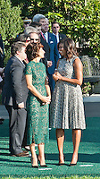 Washington DC, October 18, 2016, USA:  Mrs. Agnese Landinis, the wife of the Italian Prime Minister, Matteo Renzi, and First Lady Michelle Obama chat arrival at the White House grounds,followed by  opening remarks by President Obama and Prime Minster Renzi, and the review of troops.  Patsy Lynch/MediaPunch