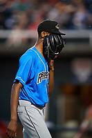 Akron RubberDucks starting pitcher Triston McKenzie (32) walks off the field after being pulled during a game against the Harrisburg Senators on August 18, 2018 at FNB Field in Harrisburg, Pennsylvania.  Akron defeated Harrisburg 5-1.  (Mike Janes/Four Seam Images)