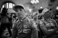 Nacer Bouhanni (FRA/FDJ) waiting for his team to hit the stage<br /> <br /> Giro d'Italia 2014<br /> Opening Ceremony