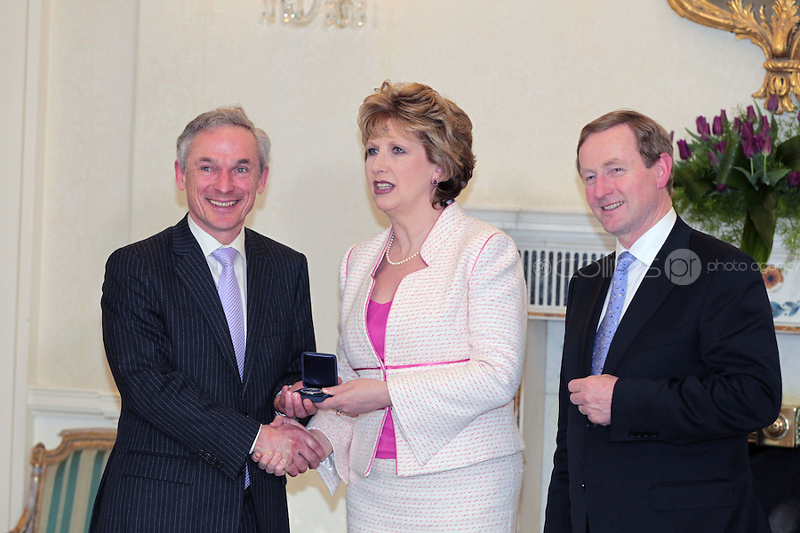 9/3/11 Richard Bruton, Minister for Enterprise, Jobs and Innovation with President Mary McAleese and Taoiseach Enda Kenny at Aras An Uachtarain for the appoinment of the Government. Pictures:Arthur Carron/Collins