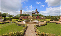BNPS.co.uk (01202 558833)<br /> Pic:  KnightFrank/BNPS<br /> <br /> A stunning new Arts and Crafts style country manor which comes with its own lake, swimming pool, tennis court and summer house has come on to the market for £4.95million.<br /> <br /> Recently built Thakeham Manor, which also has a helipad, is set in 16 acres of landscaped parkland near Pulborough, West Sussex.<br /> <br /> Its eye-catching design, inspired by the famous early 20th century architect Edwin Lutyens, includes a slate roof, stone quoins and brick buttresses, while inside it is full of glamorous modern touches.<br /> <br /> The luxurious property has five bedrooms, five bathrooms and six reception rooms, and its grounds contain a heated swimming pool and decking area, a circular cushioned seating area and a tennis court.