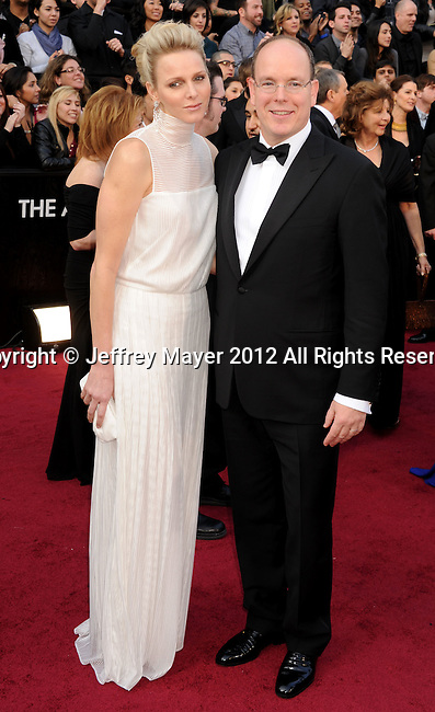 HOLLYWOOD, CA - FEBRUARY 26: Princess Charlene and Prince Albert II of Monaco arrive at the 84th Annual Academy Awards held at the Hollywood & Highland Center on February 26, 2012 in Hollywood, California.