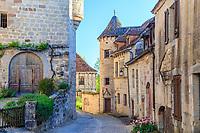 France, Correze, Curemonte, labelled Les Plus Beaux Villages de France (The Most beautiful Villages of France),   village street // France, Corrèze (19), Curemonte, labellisé Les Plus Beaux Villages de France, rue du village